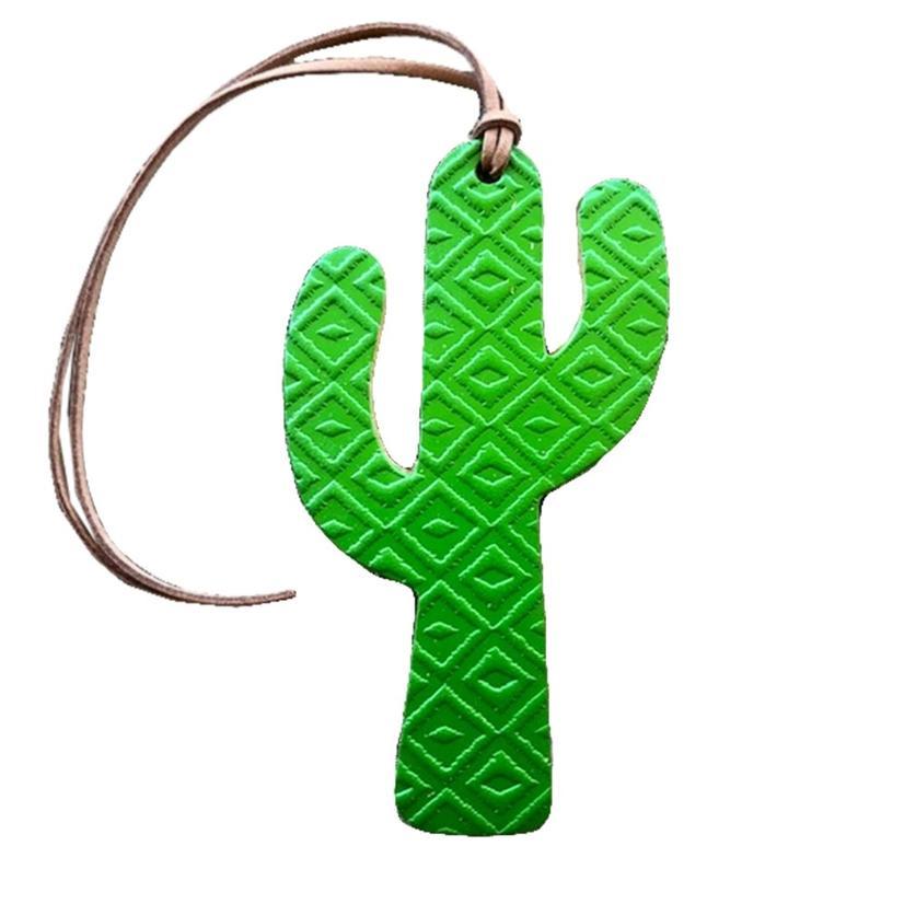 Leather Aztec Cactus Air Freshener in Green, Fushia, Turquoise - Leather GREEN