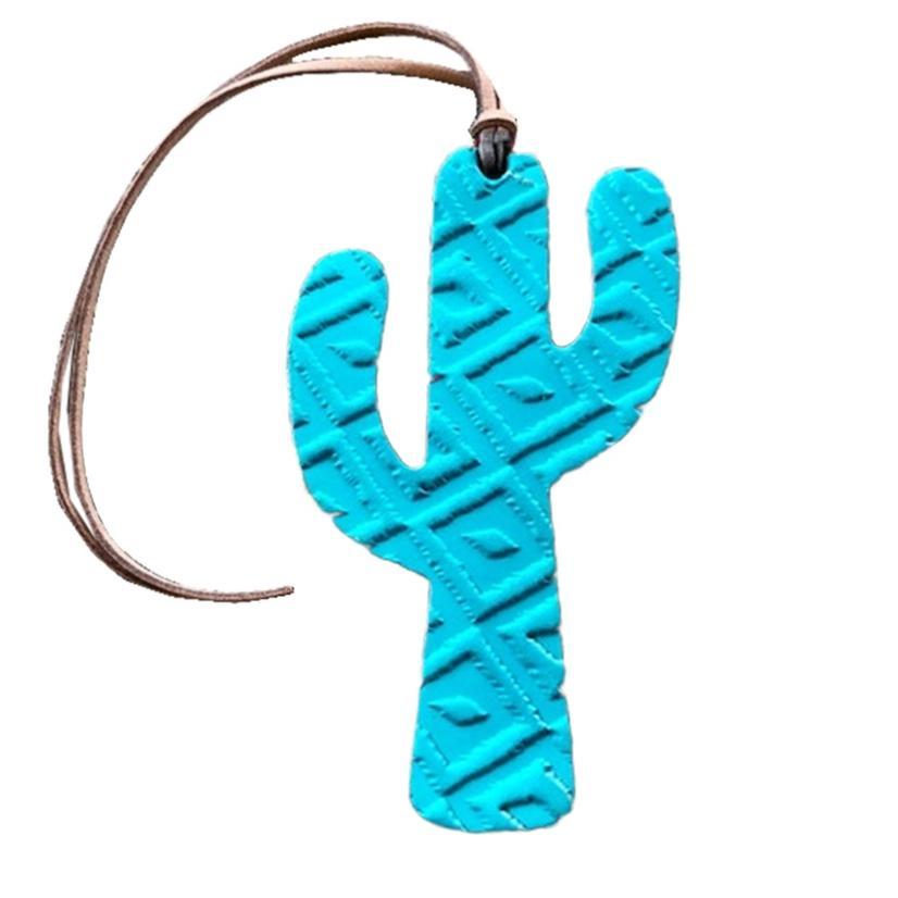 Leather Aztec Cactus Air Freshener in Green, Fushia, Turquoise - Leather TURQUOISE