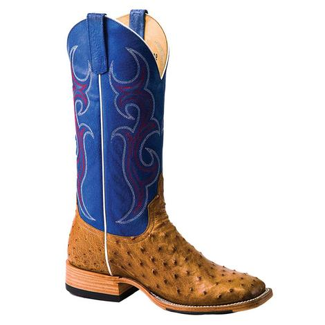 Horsepower Royal Blue Antique Saddle Full Quill Ostrich Men's Boots