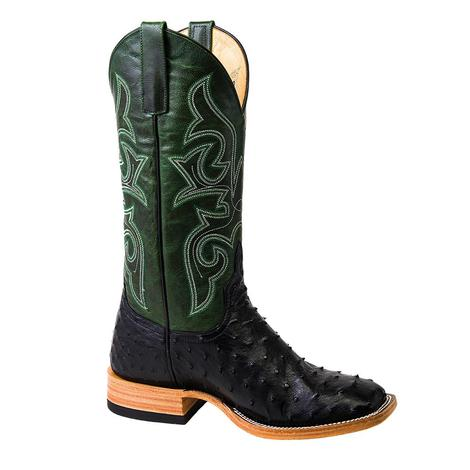 Horsepower Green and Black Full Quill Ostrich Men's Boots
