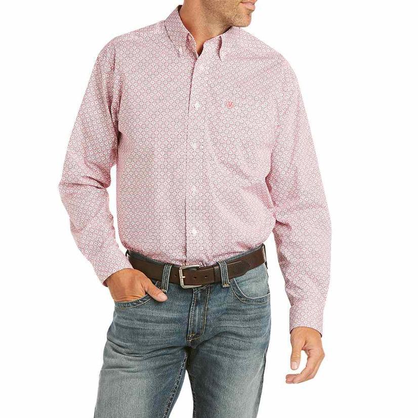 Ariat Farnum Stretch Coral Print Long Sleeve Buttondown Men's Shirt