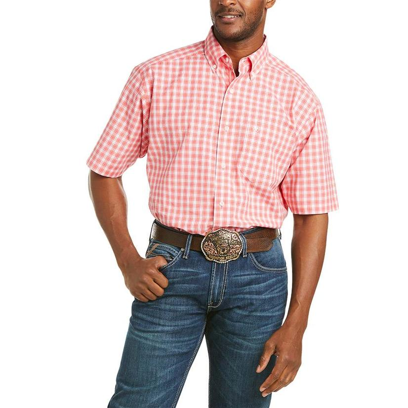 Ariat Felix Coral Plaid Short Sleeve Buttondown Men's Shirt