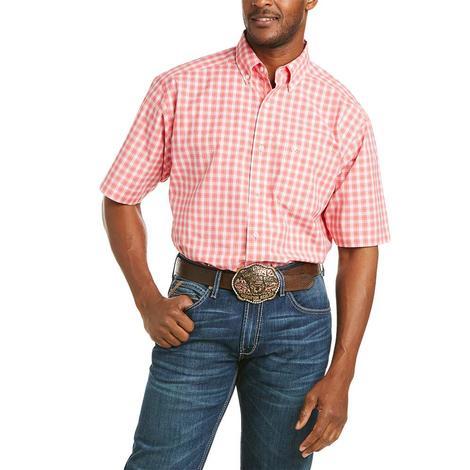 Ariat Felix Coral Plaid Short Sleeve Buttondown Men's Shirt