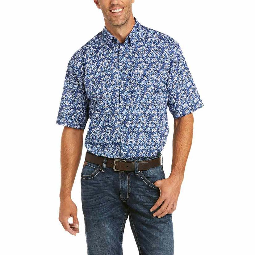 Ariat Fanes Blue Floral Short Sleeve Buttondown Men's Shirt