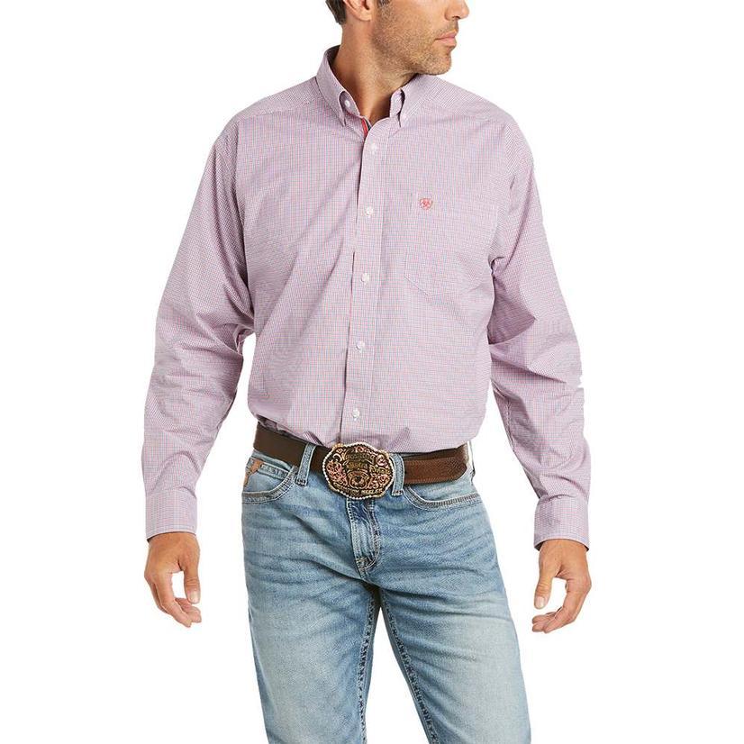 Ariat Finn Coral Plaid Long Sleeve Buttondown Men's Shirt