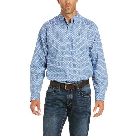Ariat Farle Harbor Blue Print Long Sleeve Buttondown Shirt