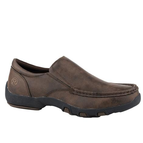 Roper Trent Brown Leather Driving Moc Men's Slip On Shoes