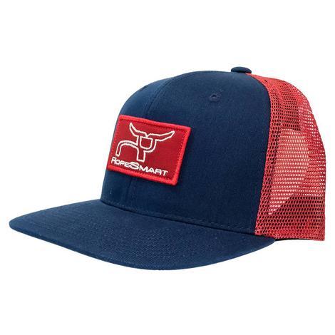 RopeSmart Classic Trucker Grey White Red Patch Meshback Cap