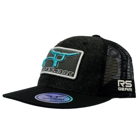 RopeSmart Heather Black with Teal Steer Patch Meshback Cap