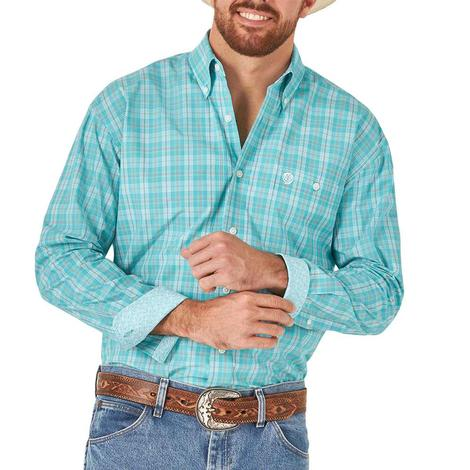 Wrangler Turquoise Plaid Long Sleeve Buttondown Men's Shirt