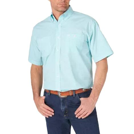 Wrangler Turquoise White Print Short Sleeve Buttondown Men's Shirt