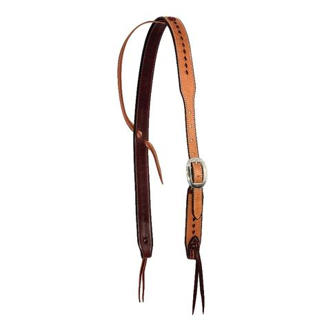 Cowboy Tack Slip Ear Roughout Buckstitch with Cowboy Knots Headstall