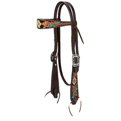 Turquoise Cross Navajo Arrow Beaded Browband Headstall