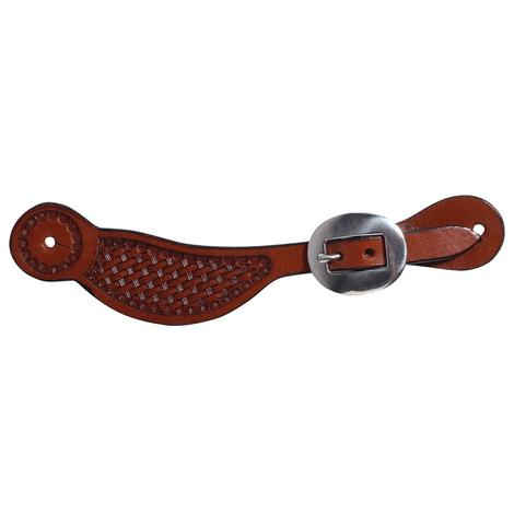 Professional Choice Chestnut Basketweave Youth Spur Straps