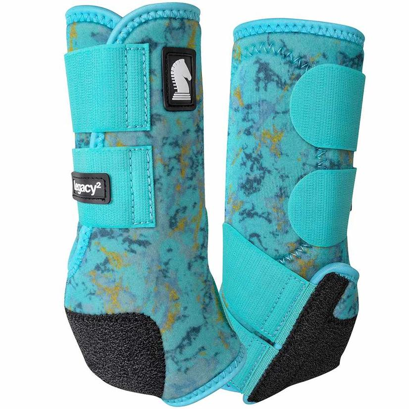 Classic Equine Legacy2 Front Sport Boots - Pinwheel TURQUOISESLAB