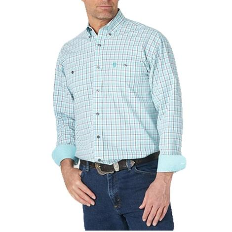 Wrangler George Straight Men's Turquoise and Plaid Long Sleeve Shirt