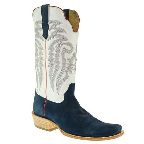 R. Watson Navy and White Roughout Cutter Toe Men's Boots