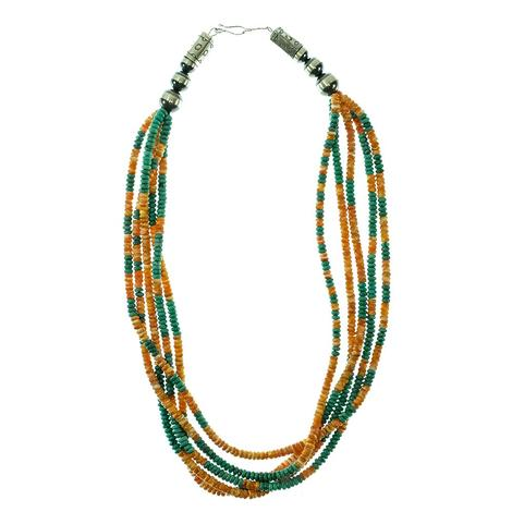 Turquoise and Spiny 5 Strand Necklace