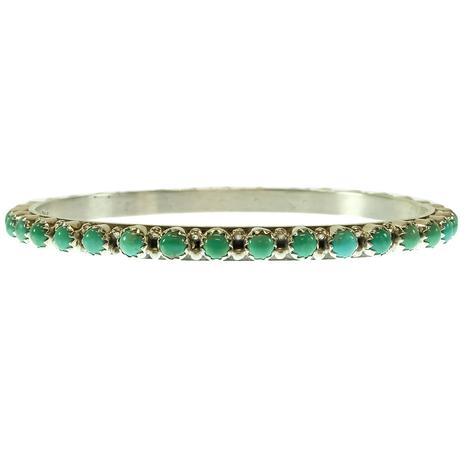 Single Turquoise Bangle Bracelet with Round Stones - Assorted