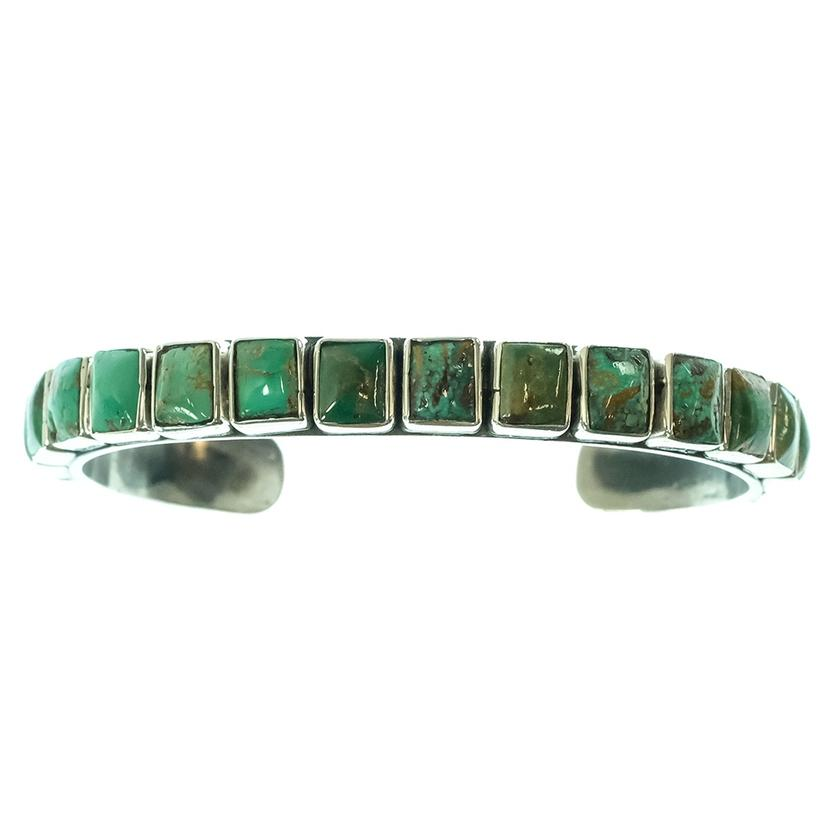 Turquoise Iron Cuff With Square Turquoise Stones
