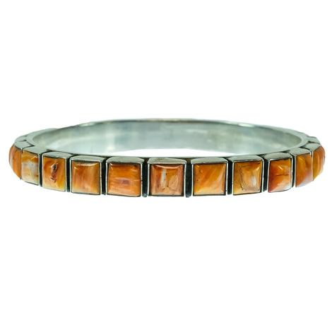 Spiny Oyster Bangle with Square Stones