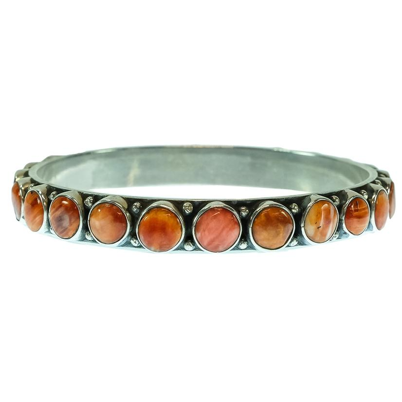 Spiny Oyster Bangle With Round Stones