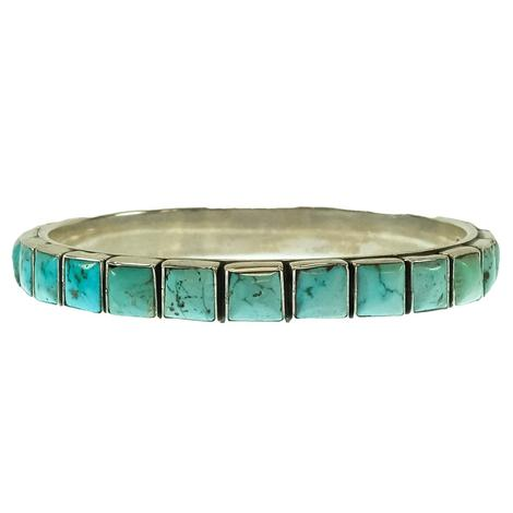 Turquoise Bangle with Square Stones