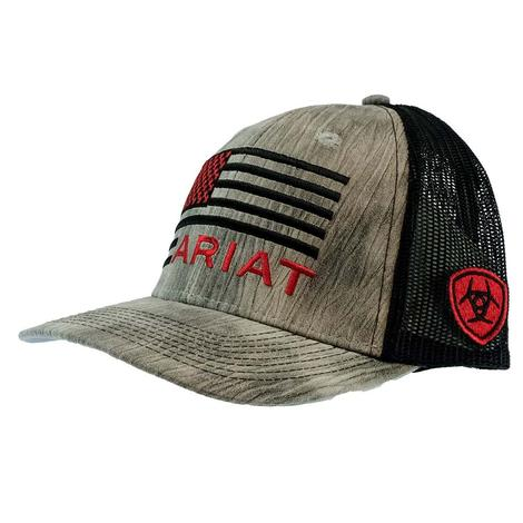 Ariat Grey and Black with Red Black Flag Embroidery Meshback Cap