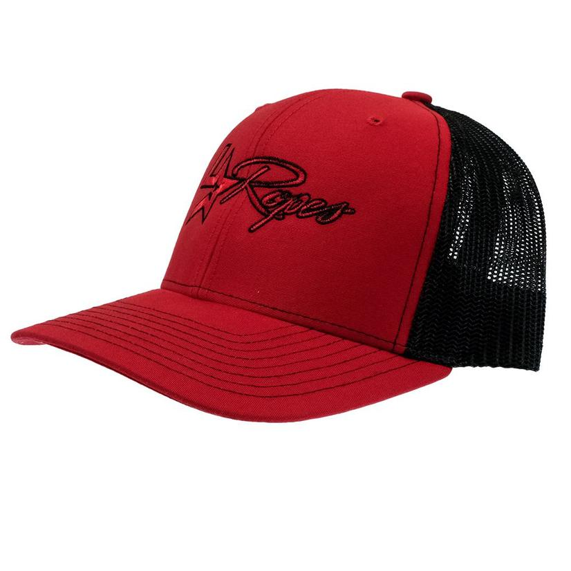 Lone Star Ropes Red And Black Meshback Cap