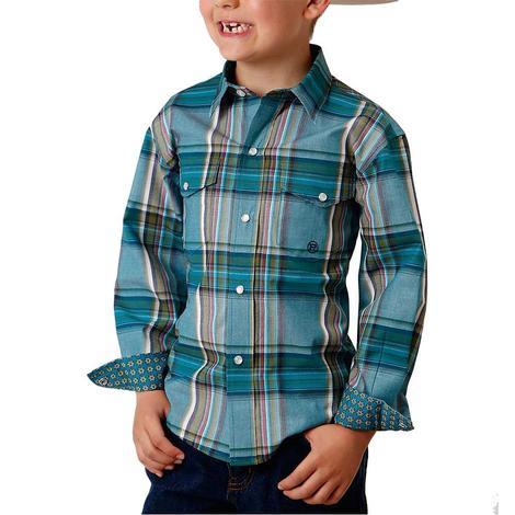 Roper Blue Plaid Boy's Snap Shirt