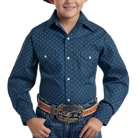 Panhandle Slim Navy Print Long Sleeve Pearl Snap Boy's Shirt