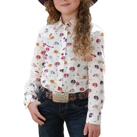 Cruel Girl White Armadillo Print Long Sleeve Shirt