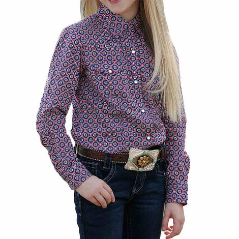 Cruel Girl Purple Print Long Sleeve Snap Girl's Shirt