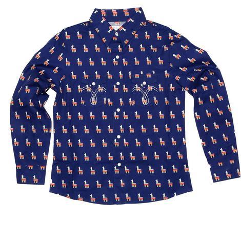 Panhandle Slim Girl's Navy Llama Print Long Sleeve Snap Shirt