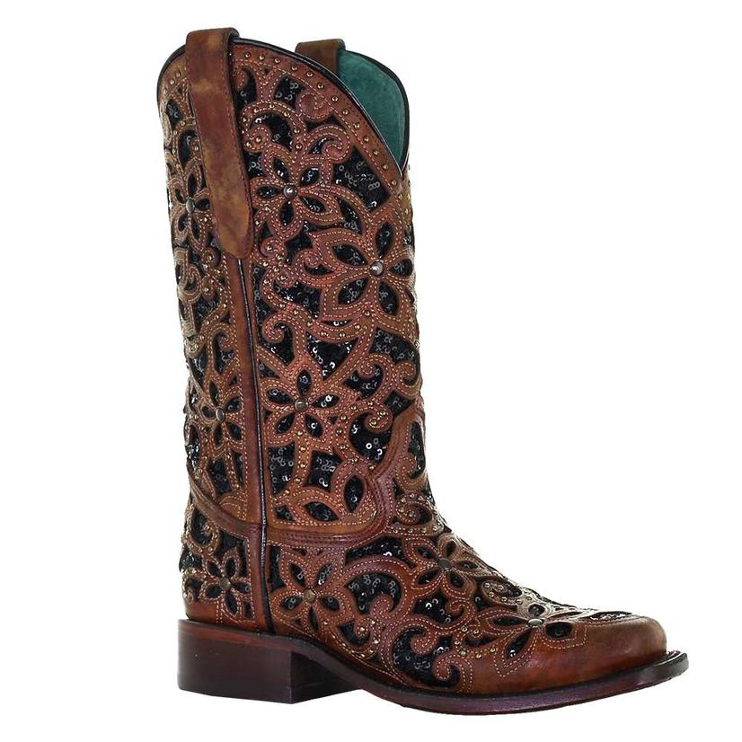 Corral Boot Women's Black Inlay Embroidered Stud Boot