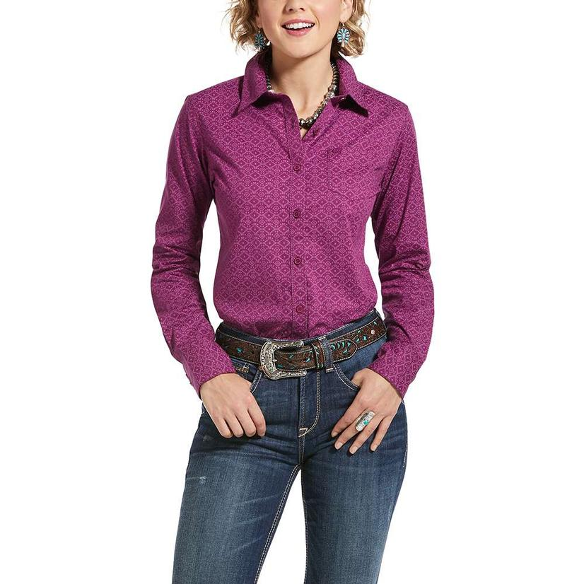 Ariat Kirby Stretch Violet Print Long Sleeve Buttondown Women's Shirt
