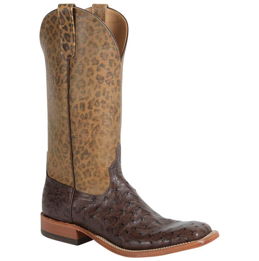 Anderson Bean Women's Nicotine Fq Ostrich W/Leopard Top Boots