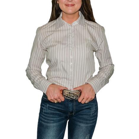 STT Ladies Long Sleeve Pima Cotton Shirts - Tan and Brown Stripes