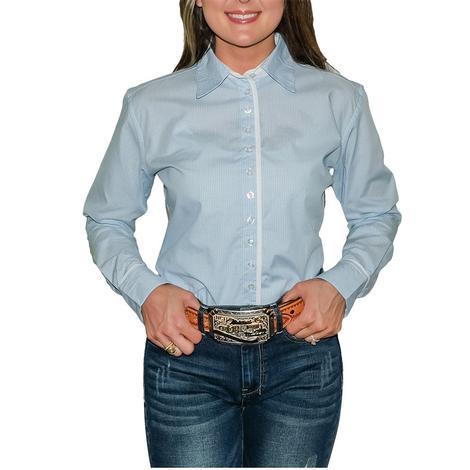 South Texas Tack Ladies Long Sleeve Pima Cotton Shirts - Classic Blue and White Checks