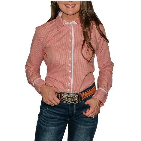 STT Ladies Long Sleeve Pima Cotton Shirts - Classic Orange and White