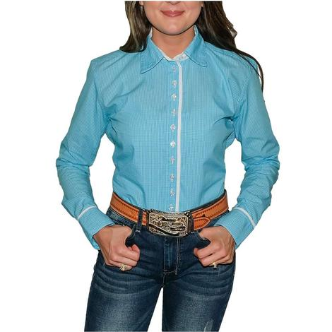 South Texas Tack Ladies Long Sleeve Pima Cotton Shirts - Classic Turquoise and White Check