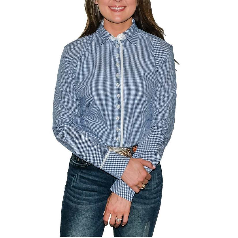 South Texas Tack Ladies Long Sleeve Pima Cotton Shirts - Classic Blue And White Check