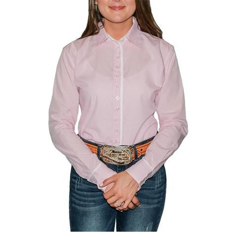 STT Ladies Long Sleeve Pima Cotton Shirts - Classic Pink and White