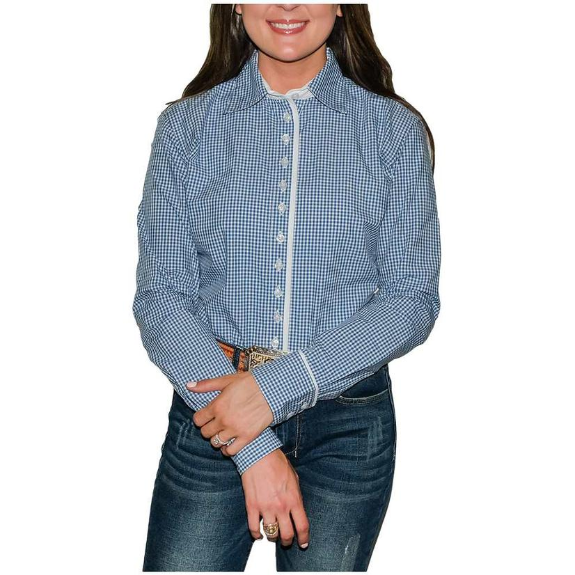 South Texas Tack Ladies Long Sleeve Pima Cotton Shirts - Classic Navy And White