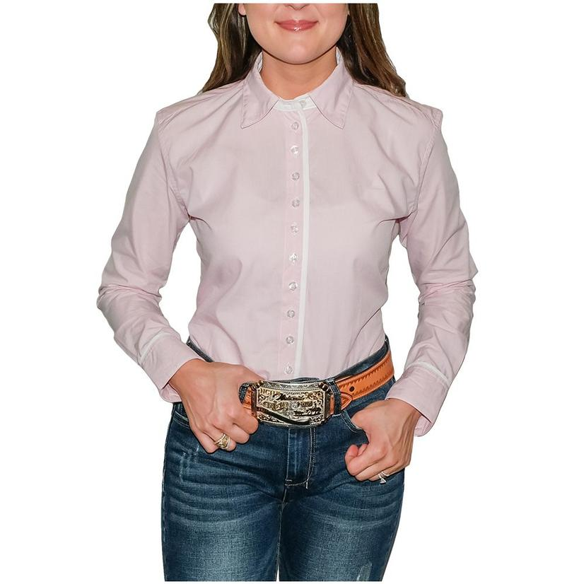 South Texas Tack Ladies Long Sleeve Pima Cotton Shirts - Classic Pink And White Small Checks
