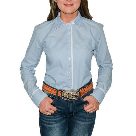 South Texas Tack Ladies Long Sleeve Pima Cotton Shirts - Classic Light Blue and White Checks