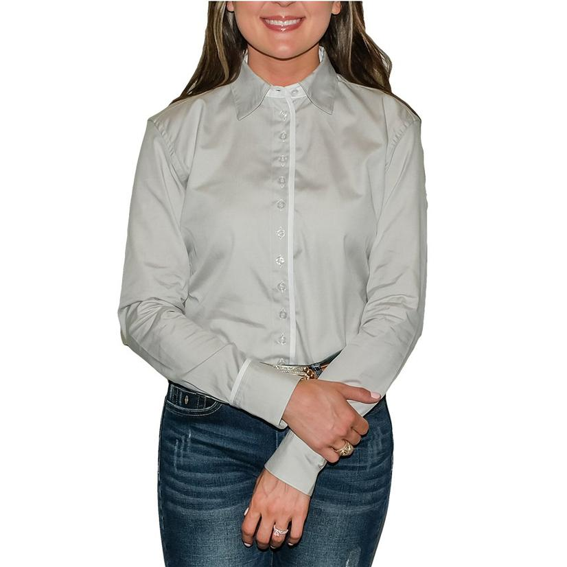 South Texas Tack Ladies Long Sleeve Pima Cotton Shirts - Pinpoint Oxford Grey