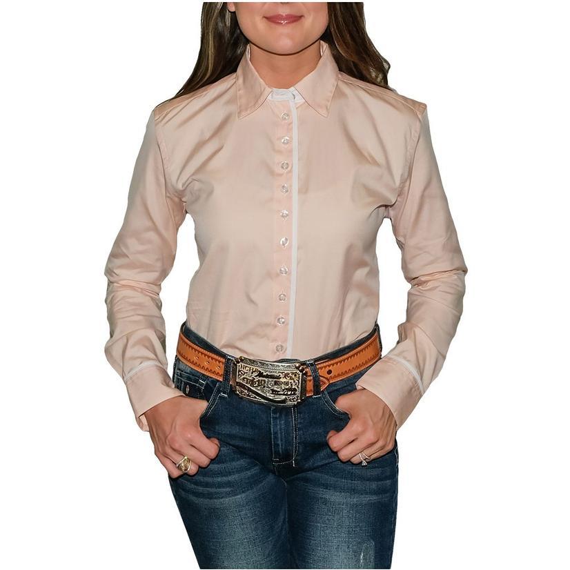 South Texas Tack Ladies Long Sleeve Pima Cotton Shirts - Pinpoint Oxford Peach