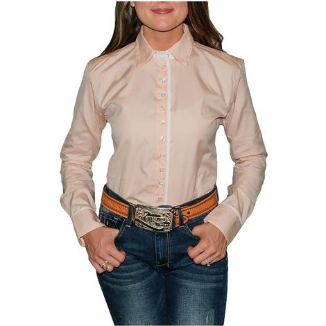 South Texas Tack Ladies Long Sleeve Pima Cotton Shirts - Pinpoint Oxford Peach