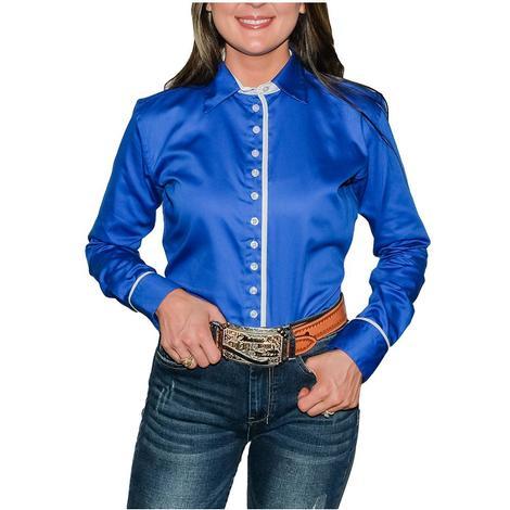 South Texas Tack Ladies Long Sleeve Pima Cotton Shirts - Sateen Sheen Royal Blue